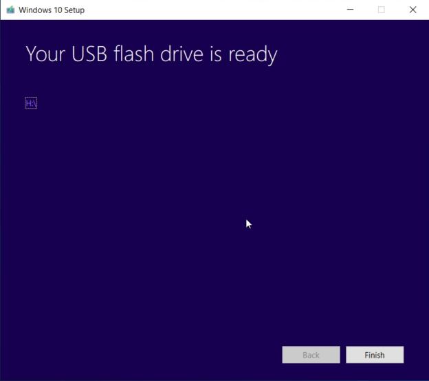 Thông báo quá trình khỏi tạo USB cài win 10 thành công