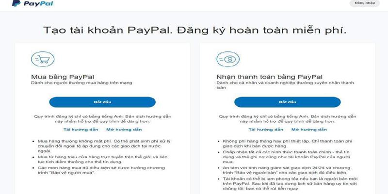 Đăng ký tài khoản paypal miễn phí