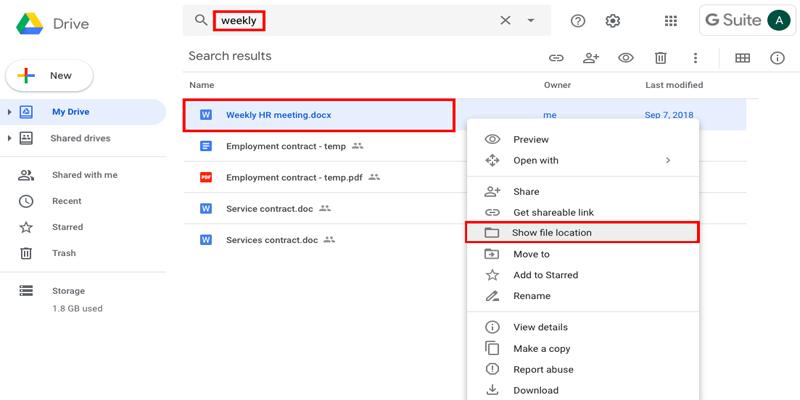 Các tính năng của google drive