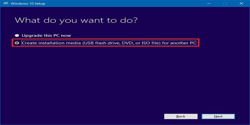 Bước 1 chon tạo phương tiện cài đặt (ổ flash USB, DVD hoặc tệp ISO